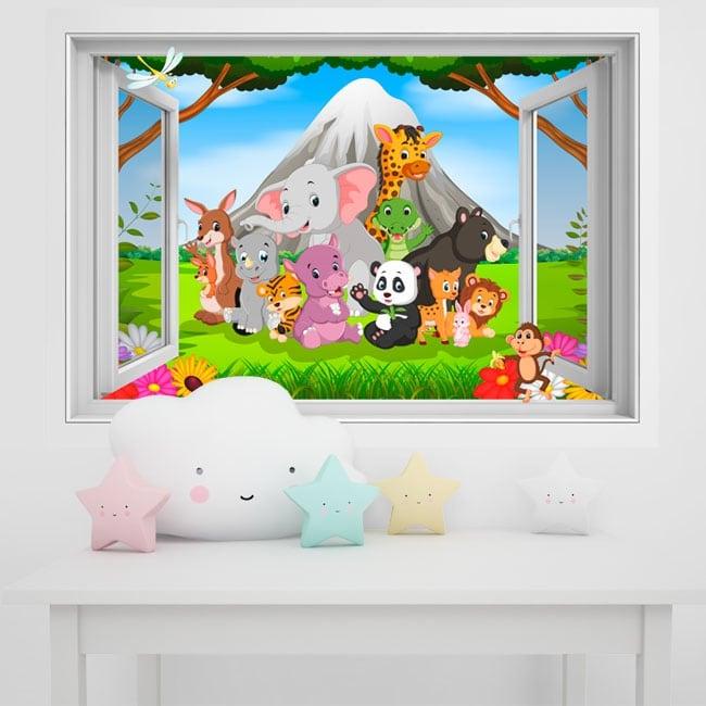 Vinili muri bambini animali nella giungla 3d