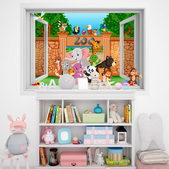 Vinili muri bambini animali nello zoo 3d - Tavole adesive 3d per muri ...