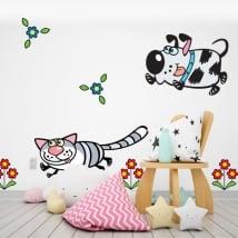 Vinili muri fiori cane e gatto