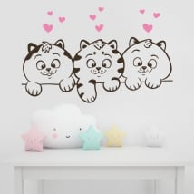 Vinile decorativo muri gatti e cuori