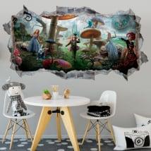 Vinili adesivi murali alice attraverso lo specchio 3d