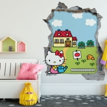 Vinili hello kitty buco muro 3d