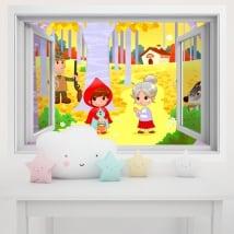 Vinili pareti per bambini cappuccetto rosso 3d