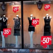Adesivi sconti vetrine negozi e botteghe