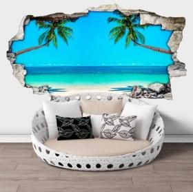 Vinili muri palme sulla spiaggia 3d