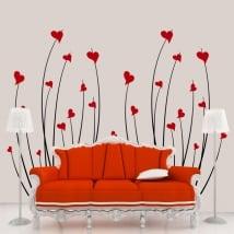 Vinile decorativo cuori fiori