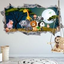 Vinili decorare le stanze dei bambini animali della natura 3d
