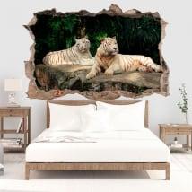Vinile decorativo tigre bianca 3d
