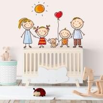 Vinili muri disegno per bambini famiglia
