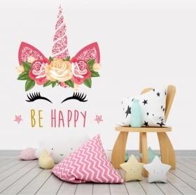 Vinile e adesivi unicorno sii felice