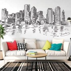 Vinile e adesivi che disegnano skyline boston
