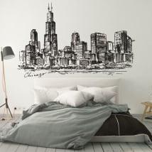 Vinile e adesivi disegno skyline di chicago