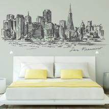 Sticker murale skyline della città di san francisc