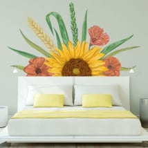 Sticker murale decorazione girasole e fiori