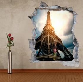 Vinile e adesivi 3d torre eiffel parigi francia