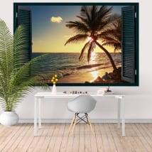 Vinili muri finestra tramonto sulla spiaggia 3d