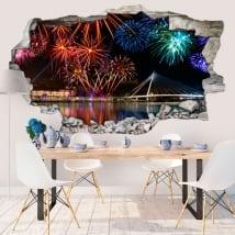 Adesivi murali fuochi d'artificio 3d