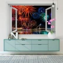 Vinile e adesivi finestra fuochi d'artificio 3d
