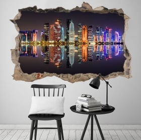 Vinili città di doha qatar foro muro 3d