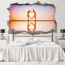 Vinili buco muro sagome di cuore 3d