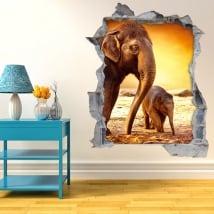 Vinili buco muro elefanti tardo pomeriggio 3d