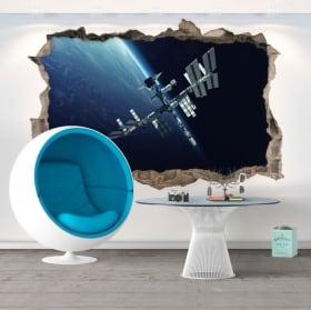 Vinili buco muro stazione spaziale 3d