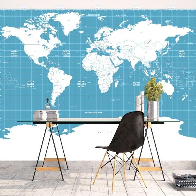 Murales in vinile mappa del mondo per decorare