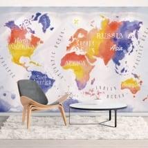 Muro vinili mappa del mondo acquerello
