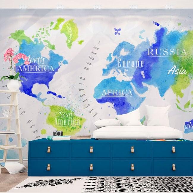 Murales su vinile mappa del mondo acquerello