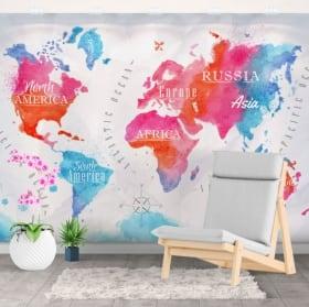 Murales decorativi mappa del mondo acquerello
