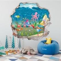 Vinile per bambini pesce buco muro 3d