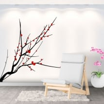 Vinile adesivo ramo di un albero con foglie