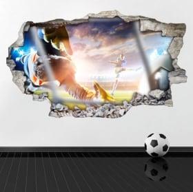 Muro di calcio di vinile rotto 3D