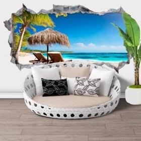 Adesivi murali isola tropicale panoramica 3d