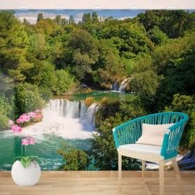 Murales in vinile cascate di natura tropicale