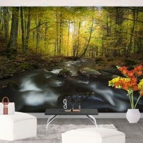 Murales in vinile natura del fiume in autunno