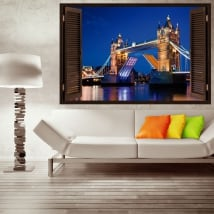 Vinili e adesivi finestra tower bridge london 3d
