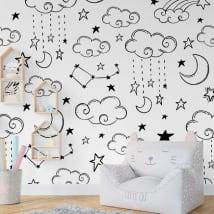 Murales in vinile nuvole luna e stelle