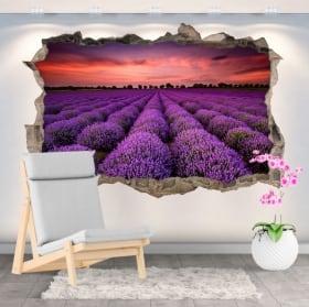 Vinili buco muro campo tramonto di girasoli 3d