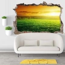 Vinili buco muro tramonto nella natura 3d