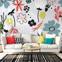 Murales in vinile fiori colorati