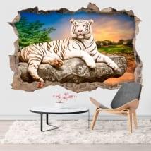 Vinili e adesivi buco muro tigre bianca 3d