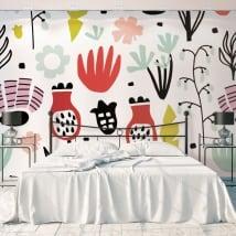 Murales in vinile con fiori da decorare