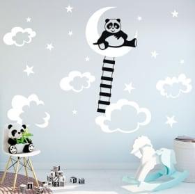 Vinili e adesivi per bambini panda sulla luna