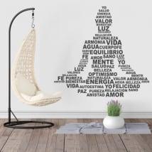 Vinili e adesivi silhouette testo di yoga