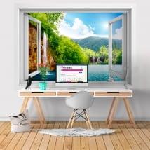 Vinili finestra natura cascata 3d