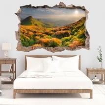 Vinili buco muro tramonto in montagna 3d