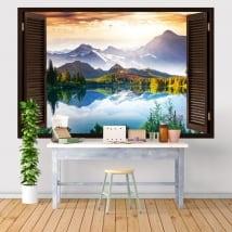 Vinili e adesivi finestra tramonto sul lago e montagne 3d