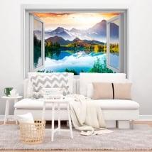 Vinili finestre lago tramonto e montagne 3d