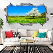 Vinili buco muro panorama albero fiore di ciliegio 3d